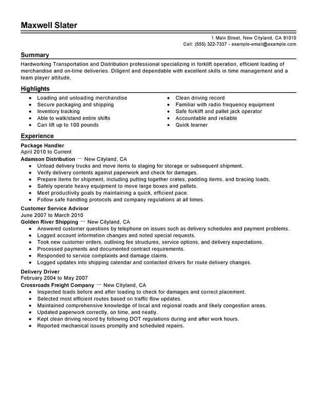 Transportation Resume Examples. Truck Driver Resume Sample ...