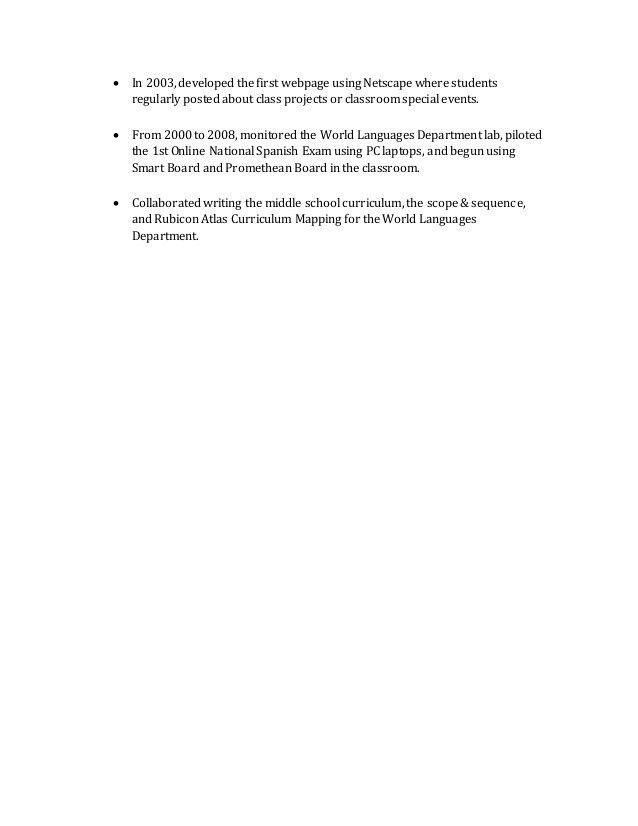 Spanish Teacher- Job Description and Achievements