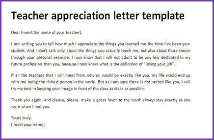 TEACHER THANK YOU LETTER | Jobproposalideas.com