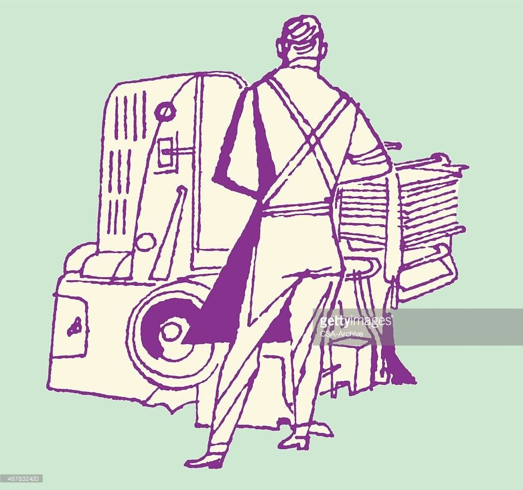 Printing Press Operator With Back Turned Vector Art | Getty Images