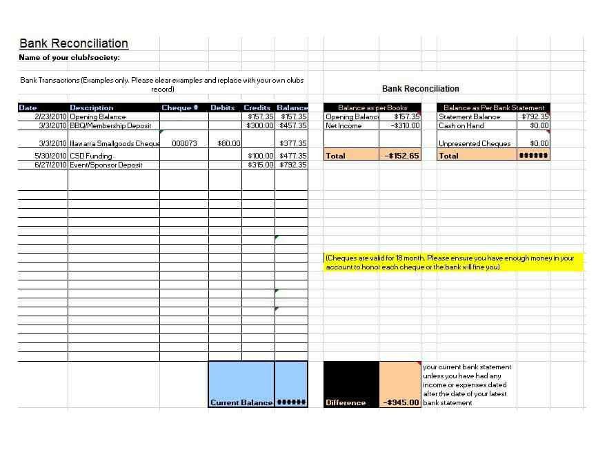 Sample Bank Reconciliation Template - Contegri.com