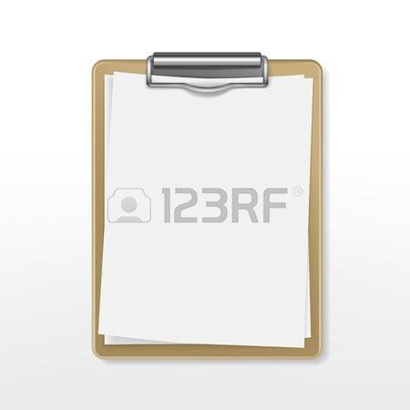 Clipboard With Blank Paper Over White Background Royalty Free ...