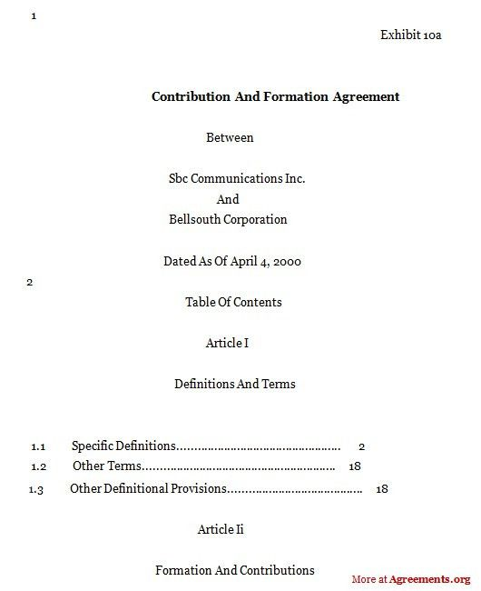 Contribution And Formation Agreement,Sample Contribution And ...