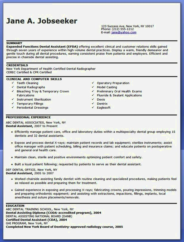 Dental Resume Template. 15 Excellent Resume Sample For Dental ...