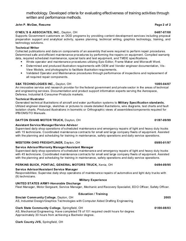 John McGee - Resume - Technical Writer