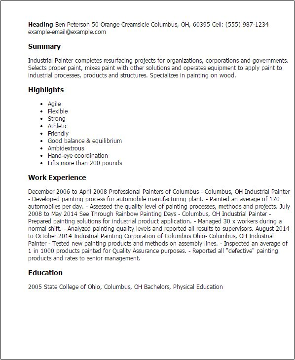 industrial painter job description sample painter resume resume