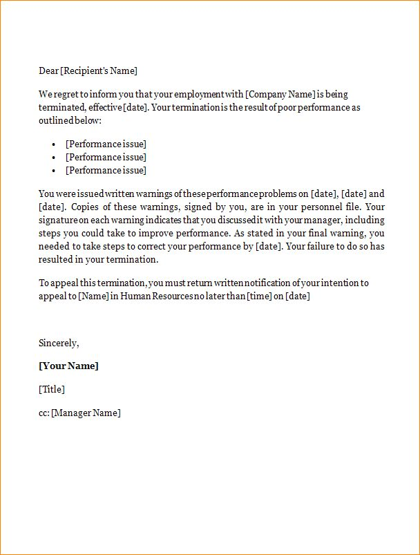 13+ sample termination letter | academic resume template