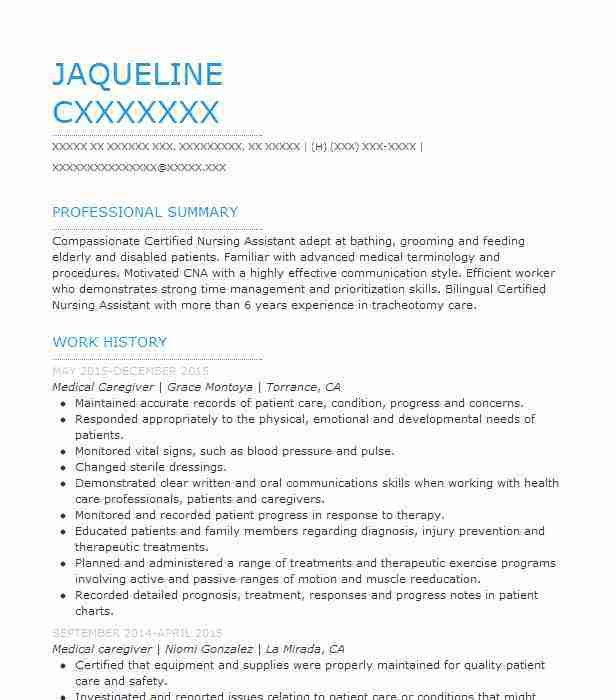 Best Medical Caregiver Resume Example | LiveCareer