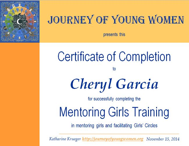 Mentoring Girls Certificate Training - Journey Of Young Women