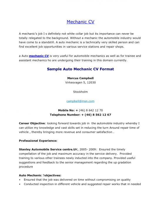 sample resume mechanic aircraft sheet metal mechanic sample resume ...