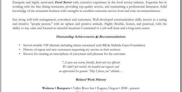 fine dining server resume example
