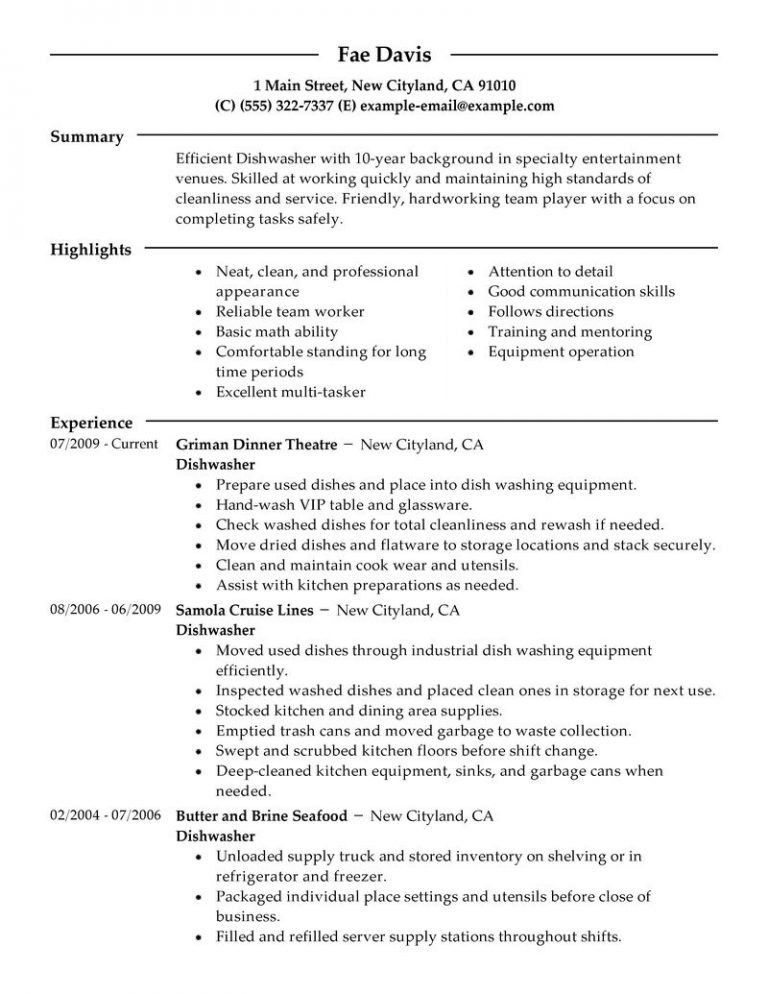 Stylist Inspiration Dishwasher Resume 2 Best Dishwasher Resume ...