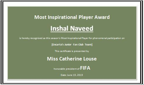 Sports Player Award Certificate Template | Formal Word Templates