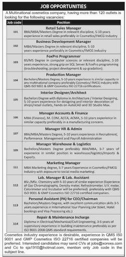 Jobs in Multinational Cosmetic Company 7 August 2016