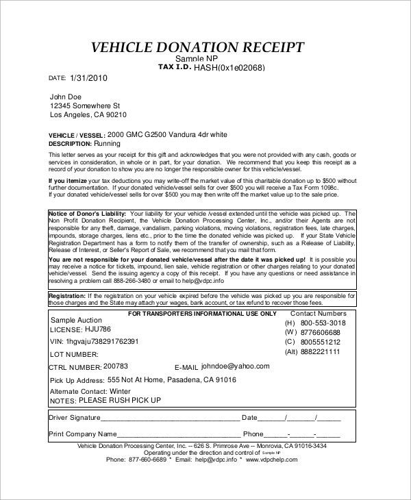 Sample Donation Receipt - 10+ Examples in Word, PDF