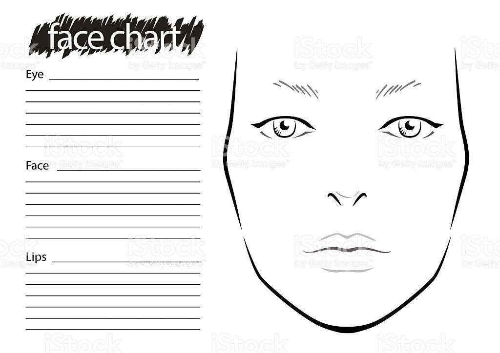 Eye Chart Template. Face Chart Makeup Artist Blank Template Stock ...
