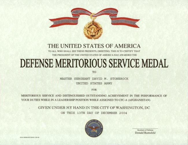 Army Good Conduct Medal Certificate Template | Best and Various ...
