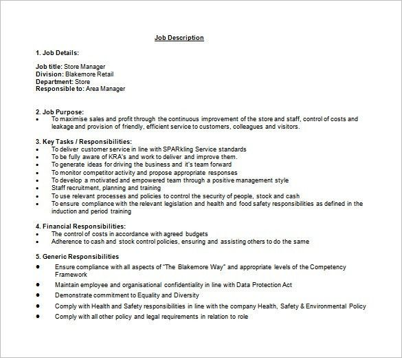 11+ Store Manager Job Description Templates – Free Sample, Example ...