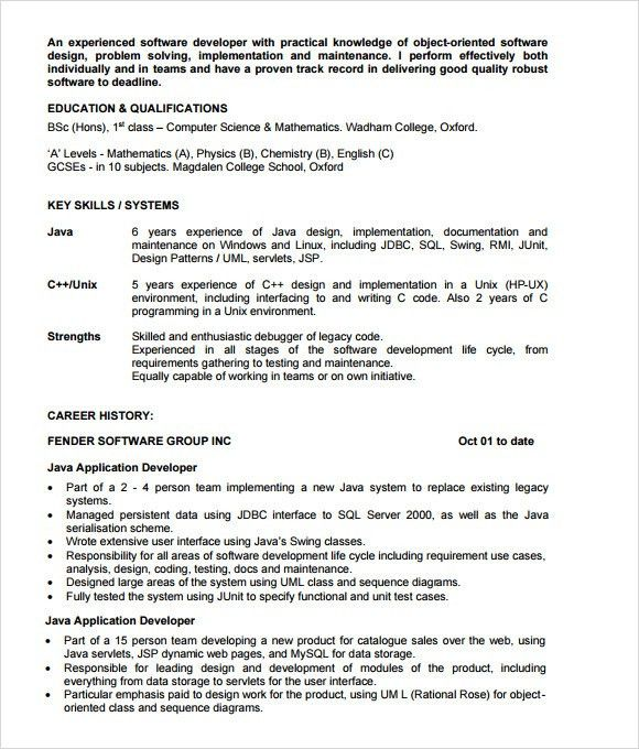 Java Developer Resume Template - 6 Download Documents in PDF , PSD ...