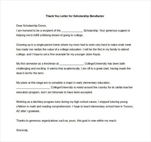 8+ Thank You Notes For Scholarship – Free Sample, Example, Format ...
