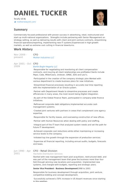 Cfo Resume samples - VisualCV resume samples database
