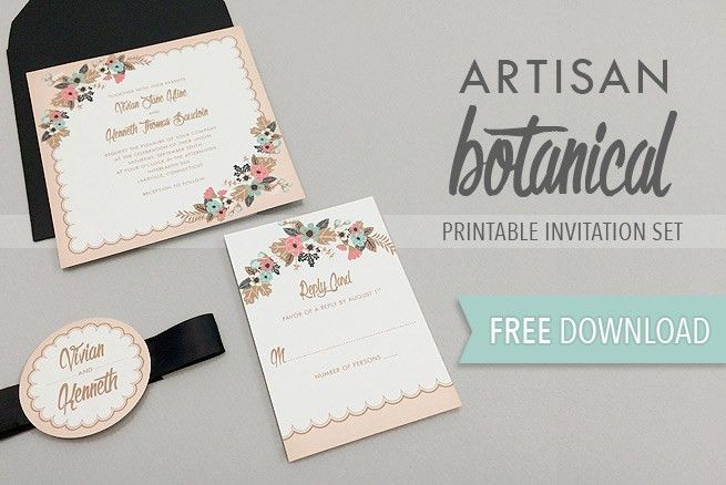 Artisan Botanical Free Printable Wedding Invitation