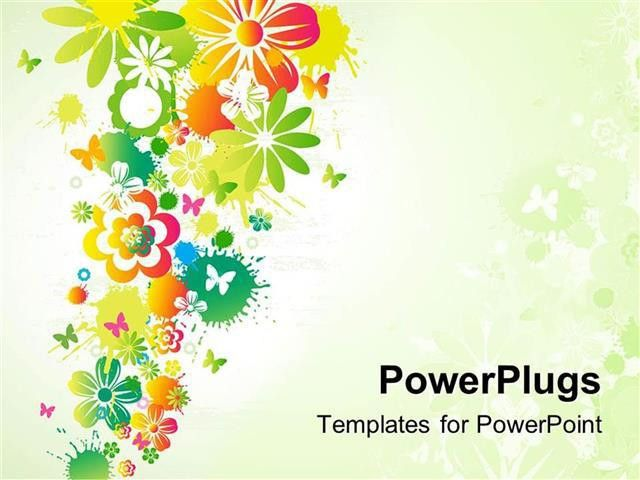 PowerPoint Template: Different flowers with little butterflies ...