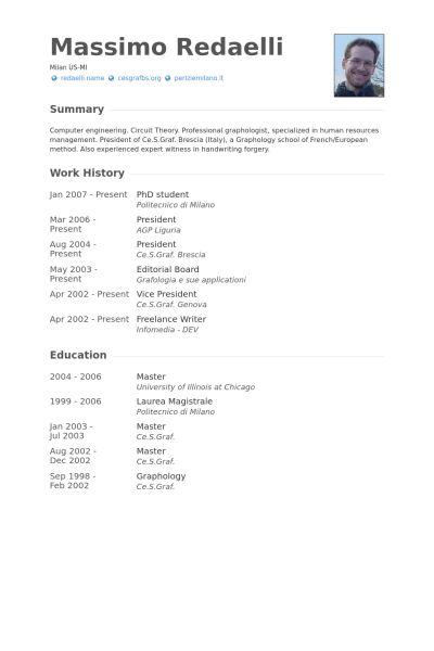 Phd Student Resume samples - VisualCV resume samples database