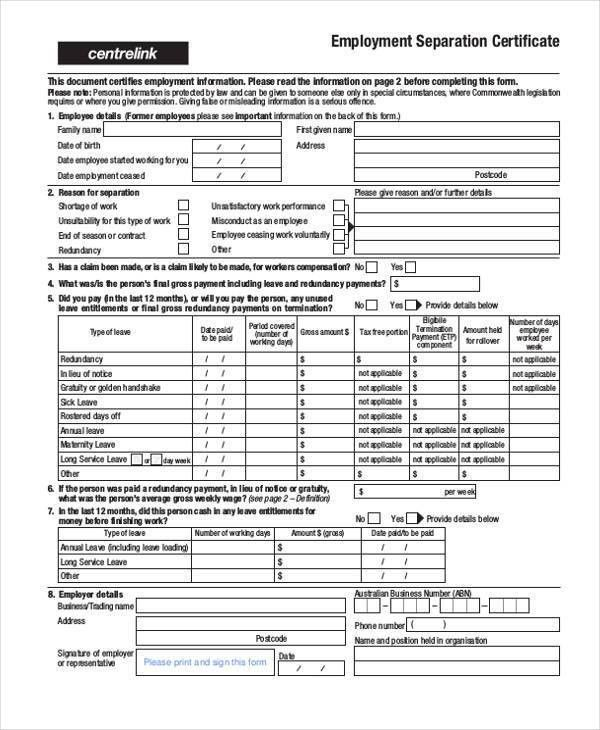 Sample Employment Separation Forms - 8+ Free Documents in PDF