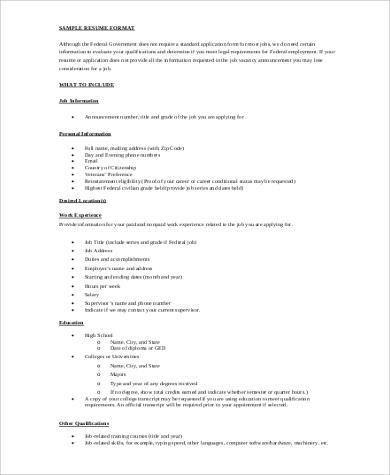 Federal Resume Example - 7+ Samples in Word, PDF