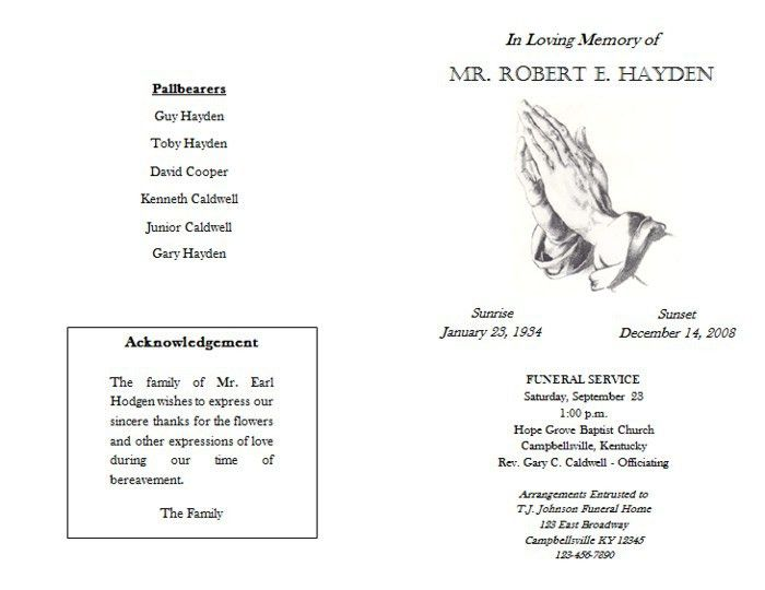 Free Funeral Booklet Templates
