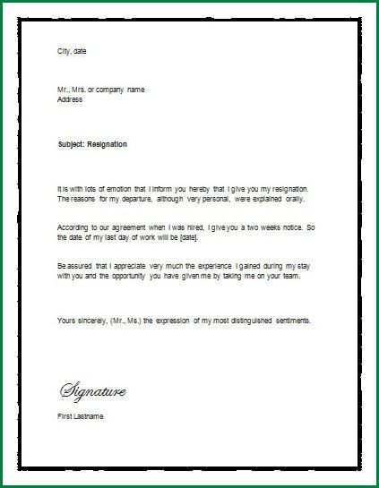 13 Microsoft Office Resignation Letter 1 Month Notice Template ...