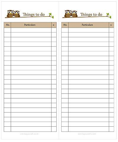 sponsored blog's: to do list template for word