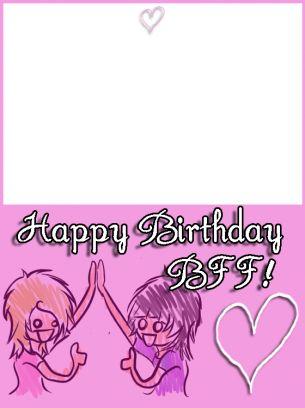 Pink BFF Birthday Cards