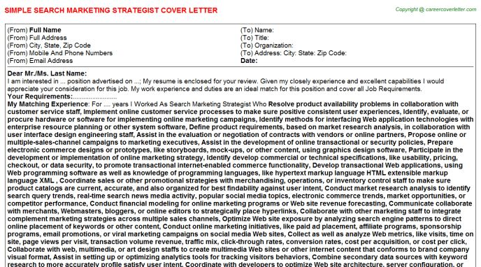 Market Access Cover Letters