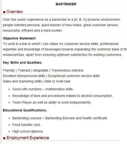 Bartender Resume Skills [Template.billybullock.us ]