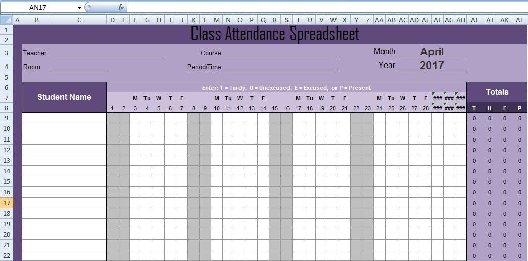 Latest Class Attendance Spreadsheet Templates Excel - Excel ...