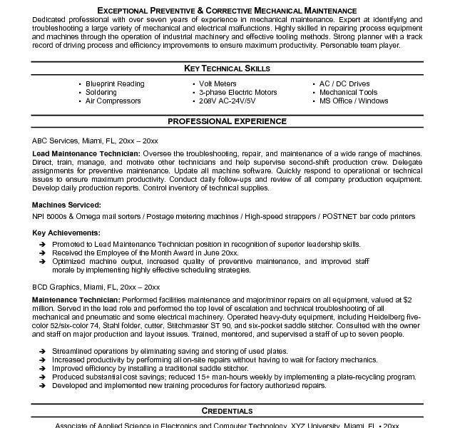 Lovely Maintenance Resume Sample 3 Maintenance Resume Template ...