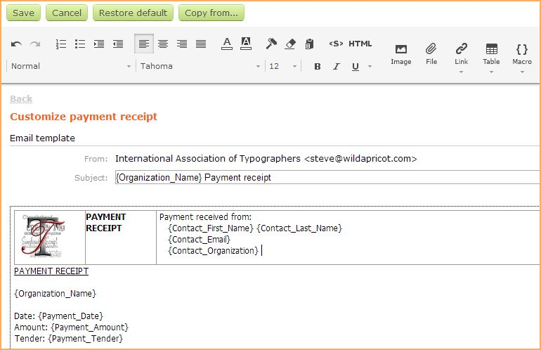 Customizing invoices and receipts - Online help - Wild Apricot help