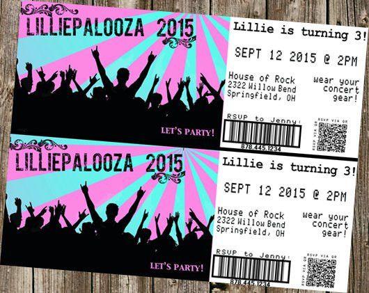 """Birthday Invitation - Concert Tickets - """"Palooza"""" """"City Limits ..."""