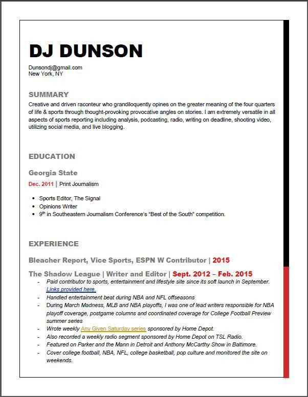 DUNSON CHECKS IN » CV/Resume