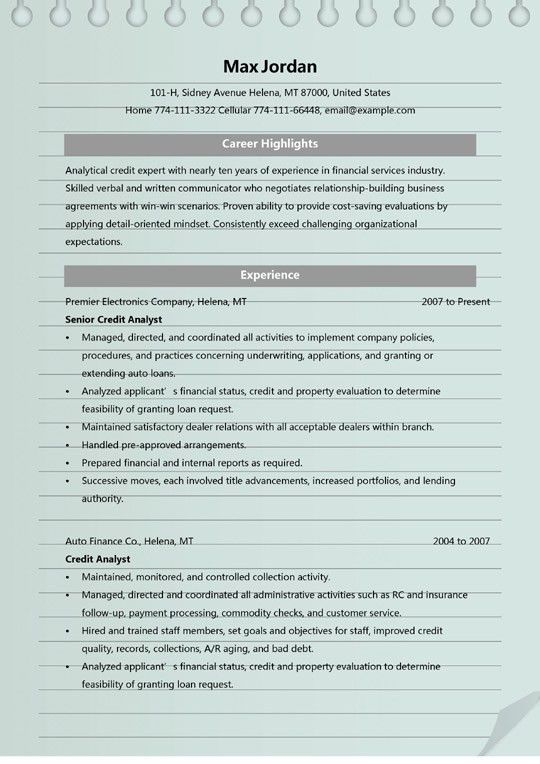 Credit Analyst Resume Templates - MS Word (.doc) Format