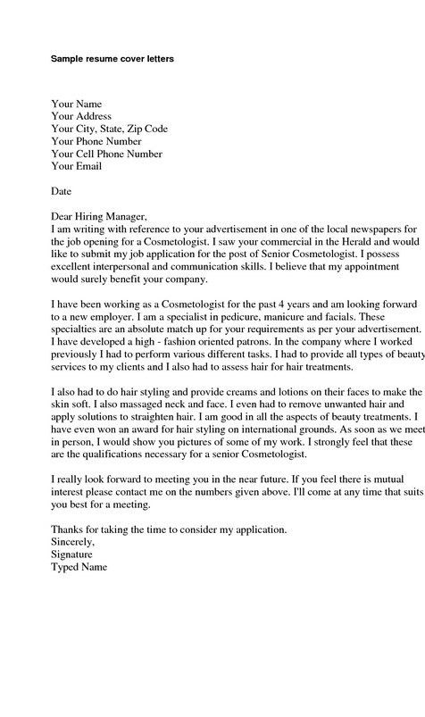Cover Letter For Email Resume