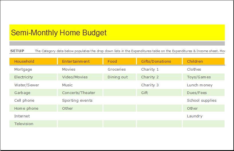 Semi Monthly Home Budget Sheet for EXCEL | Document Hub