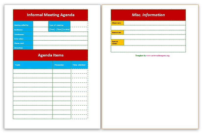Free Meeting Agendas | Save Word Templates