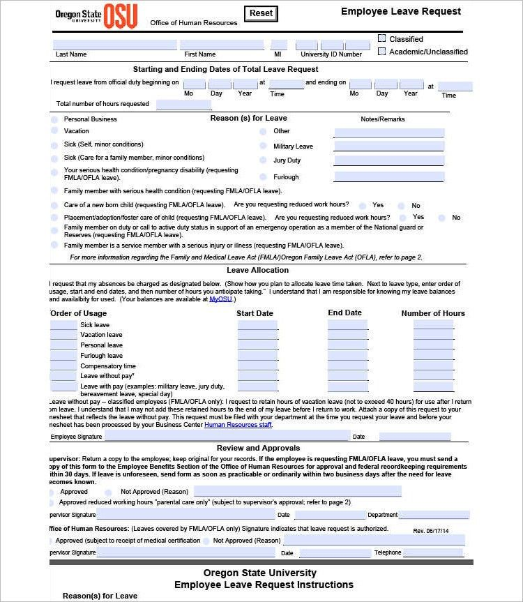 Employee Leave Form. Disciplinary Action Form 23 40 Employee ...