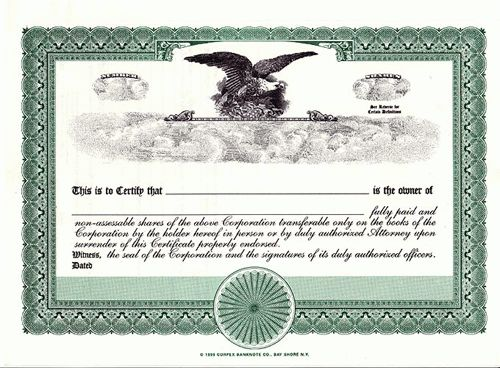 Blank Certificates Corporation Corpex Green Eagle : Selimtd