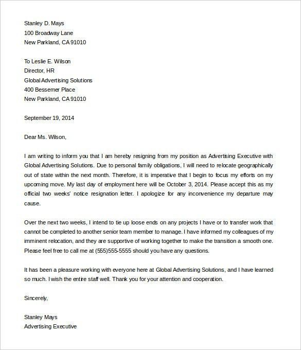 Resignation Letter Examples 2. Beautiful Appreciative Letter Of ...
