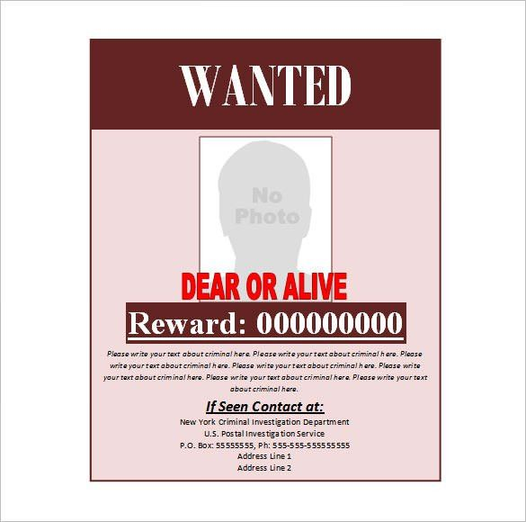 Doc.#430632: Wanted Poster Template Word – 19 FREE Wanted Poster ...