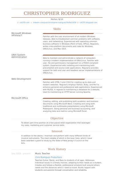 Music Teacher CV Örneği - VisualCV Özgeçmiş Örnekleri Veritabanı